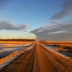South Dakota gravel road during a mild winter. Photo by Heidi Marttila-Losure.
