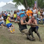 The tug-of-war competition winners of the 1500-pound adult division were Herbie and Loren's team, comprised of Herbie Martinmaas, Craig Martinmaas, Tyson Martinmaas, Damian Martinmaas, Caleb Martinmaas, Loren Weber and Cody Cotton. The event was part of Orient, S.D.'s 125th Celebration, held July 6-8. Photo by Faulk County Record