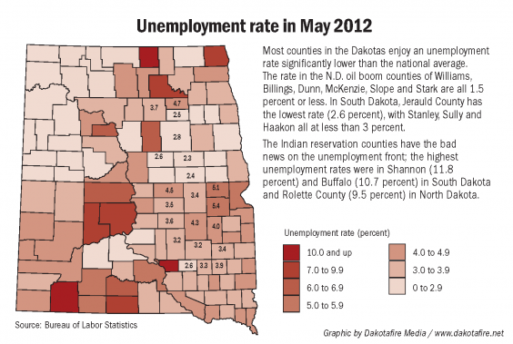 Unemployment Rate in May 2012 in Dakotas. Information from Bureau of Labor Statistics; graphic by Dakotafire Media / www.dakotafire.net