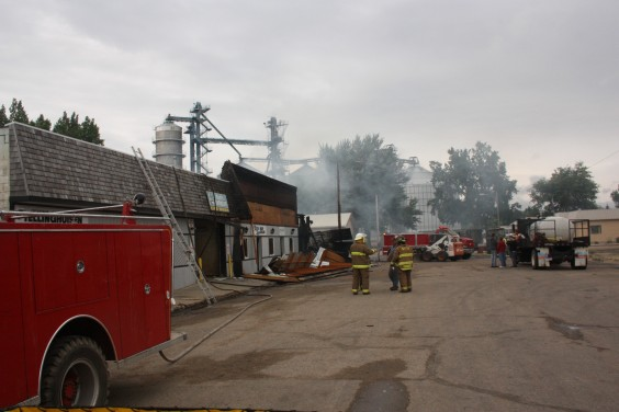 The scene in Willow Lake the morning of July 12, 2011, after fire destroyed four businesses. Photo by Clark County Courier