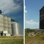The new South Dakota Wheat Growers facility in Andover, and a long-abandoned grain elevator in Crandall. Photos by Chris Laingen
