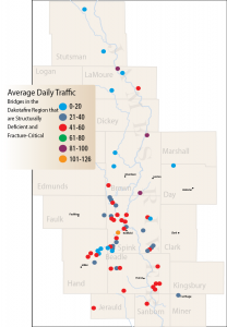 Average daily traffic on bridges that are structurally deficient and fracture critical. Graphic by Troy McQuillen