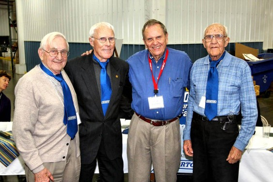 Horton, Inc. chairman of the board Hugh Schilling, presented special Horton neckties to three Britton men who helped bring the manufacturer to Britton 38 years ago.  From left to right are Bryce Thoelke, Frank Farrar, Schilling, and Don Franzen. Britton Journal photo