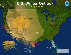 Warmer-than-normal temperatures are expected for much of the western United States, including the Dakotas. Image from http://www.noaanews.noaa.gov/stories2012/20121018_winteroutlook.html
