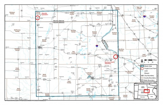 This map indicates the area being studied for a potential transmission line from Big Stone City, S.D., to Ellendale, N.D. Click on the image to go to a larger version.