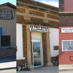 Collage of post offices with upcoming meetings about reduced hours: Cresbard, St. Lawrence and Wessington. Images from waymarking.com