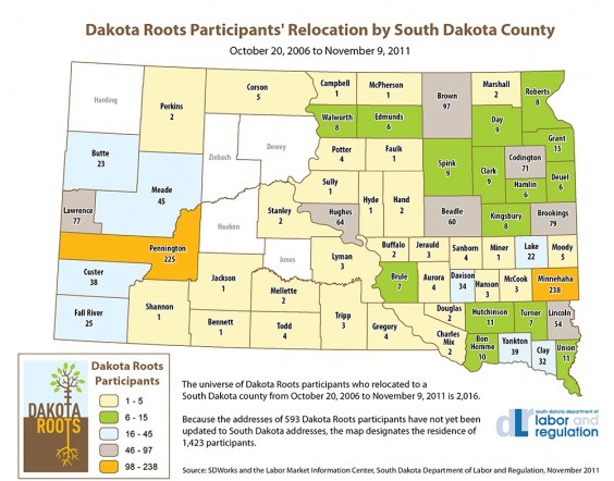 Map of Dakota Roots placements, 2006-2011