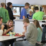 Kyle Ortmeier with other FHS students Allie Lowinske, Dade Monroe and Kaitlin Heitmann are filmed having lunch at Faulkton High School. Photo by Faulk County Record