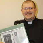 The Rev. Tim Koch, showing his master's thesis project. Photo by Faulk County Record