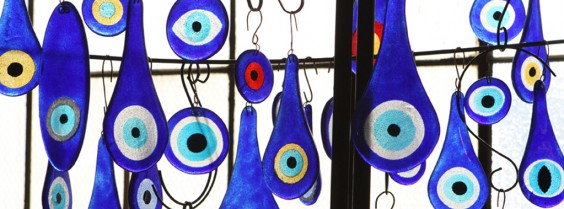Nazar evil eye charms are among the artistic items made from recycled glass at Bedrock Industries. Photos courtesy Bedrock Industries