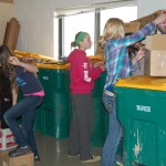 Right: Anissah Carlblom, Kaylee Stevens, Meadow Malone, Chase McFarland and Victoria Sandness are among the students helping with recycling preparation at North Sargent school. Photo by Kirstin Kempel