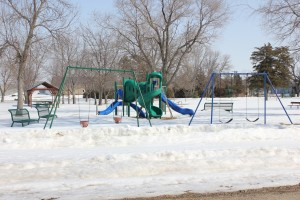 Play equipment is often designed for ages 2-5 or 5-12. The play structure in Faulkton's city park is designed for younger children. Photo by Garrick Moritz/Faulk County Record