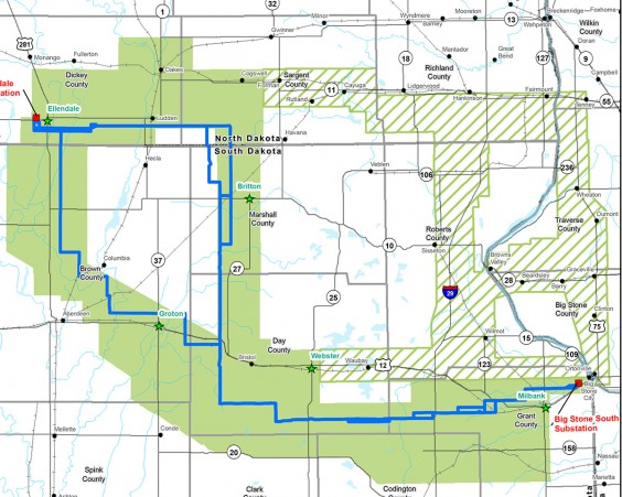 The blue line shows the proposed route options for the new transmission line. The green areas show those still under consideration, while the green hashed areas show routes no longer being considered for the line. Image from www.bssetransmissionline.com