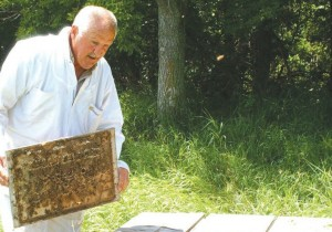 Gary Block of Waubay is a travel agent for bees that travel across the country pollinating crops. Photo by George Thompson, Reporter and Farmer