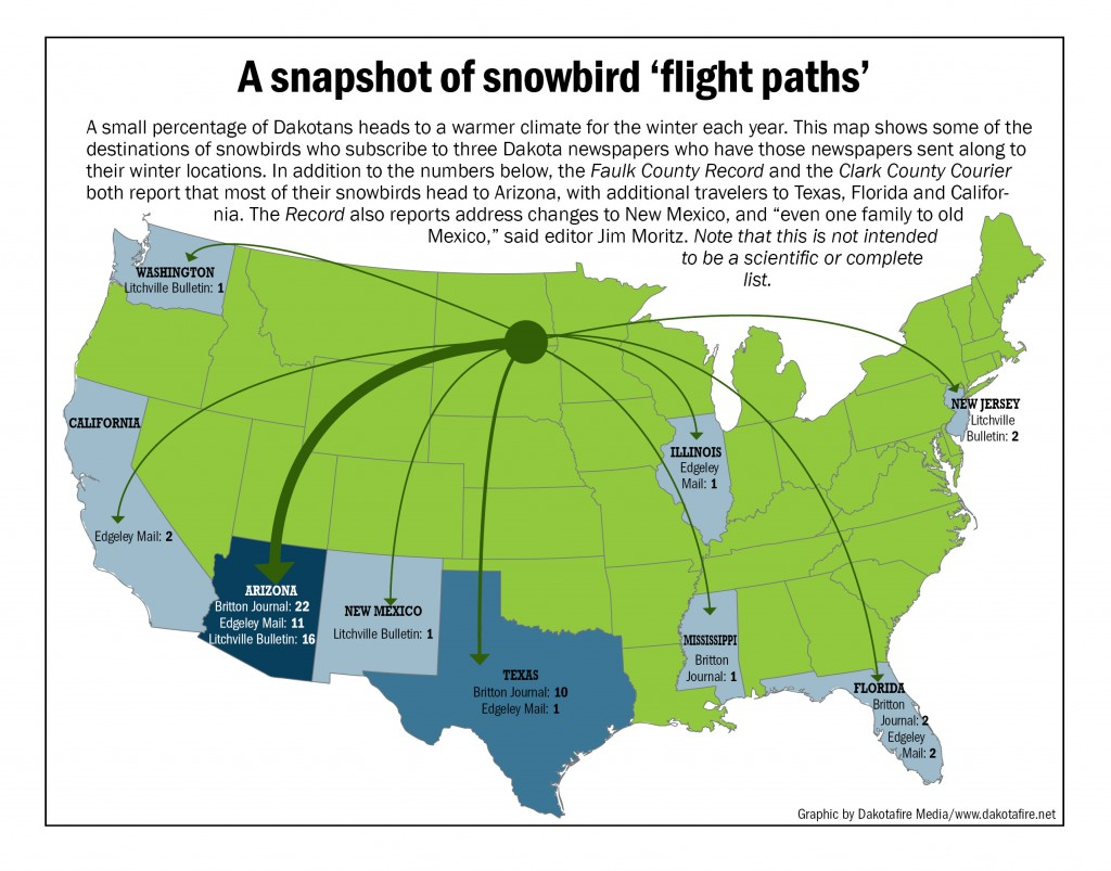 A small percentage of Dakotans heads to a warmer climate for the winter each year. This map shows some of the destinations of snowbirds who subscribe to three Dakota newspapers who have those newspapers sent along to their winter locations. Graphic by Dakotafire Media / www.dakotafire.net