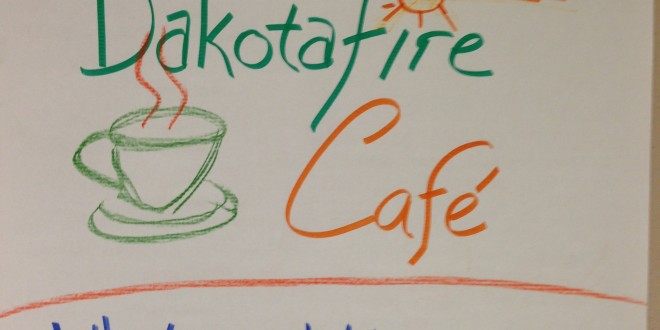 Welcome message for Dakotafire Cafe event in Britton, S.D., March 28. Photo by Joe Bartmann