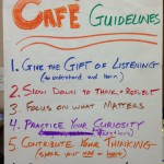 Guidelines to foster good conversations. Dakotafire Cafe event in Britton, S.D., March 28. Photo by Joe Bartmann