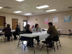 Participants moved to different small groups to discuss different questions. Dakotafire Cafe event in Britton, S.D., March 28. Photo by Joe Bartmann
