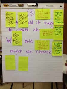 Responses to the third question at Dakotafire Cafe event in Britton, S.D., March 28. Photo by Joe Bartmann