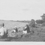 Fishing at Lake Tewaukon was a family affair for the Grammond family. Eugene Beron, left, lived in Cayuga and was married to Esther (Grammond) Beron. To Eugene's right is Della (Grammond) Beglau, who along with her husband, Sam; daughter, Pat; and son, Curtis, enjoyed fishing at the lake whenever they visited from California. Photo courtesy Mary Ann Gadberry