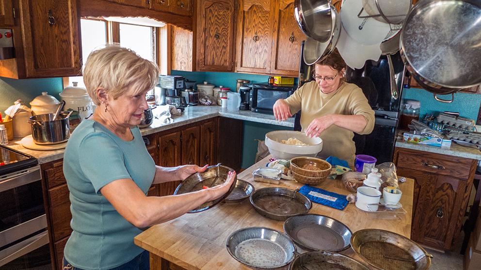 Marion Houn  and Sue Balcom  create kuchen for  Houn's daughter's wedding. Photos courtesy Sue Balcom