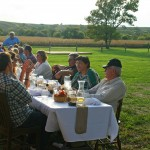 Diners relaxed and talked after a meal prepared from local food last September at The Field restaurant in Adrian, N.D. The harvest meal was sponsored by the Northern Plains Sustainable Agriculture Society. Photo by Heidi Marttila-Losure