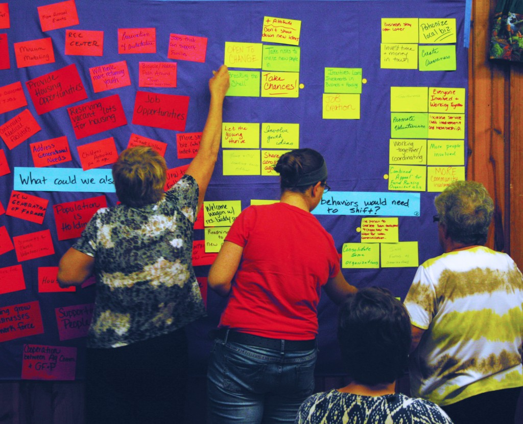 Residents voted on priorities on a wall of ideas created at a previous brainstorming session. Photos by Heidi Marttila-Losure