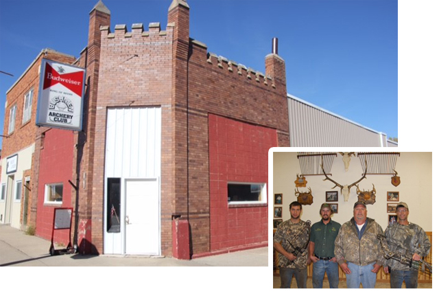 The Bushmen Archery Club brought a building on Main Street in Corsica back to life.  Some of the members of the Bushmen Archery Club are, from left, Wylie DeLange, Isaac Schoenfelder, Mick Schrank and Darwin DeLange. Photo by Douglas County Publishing