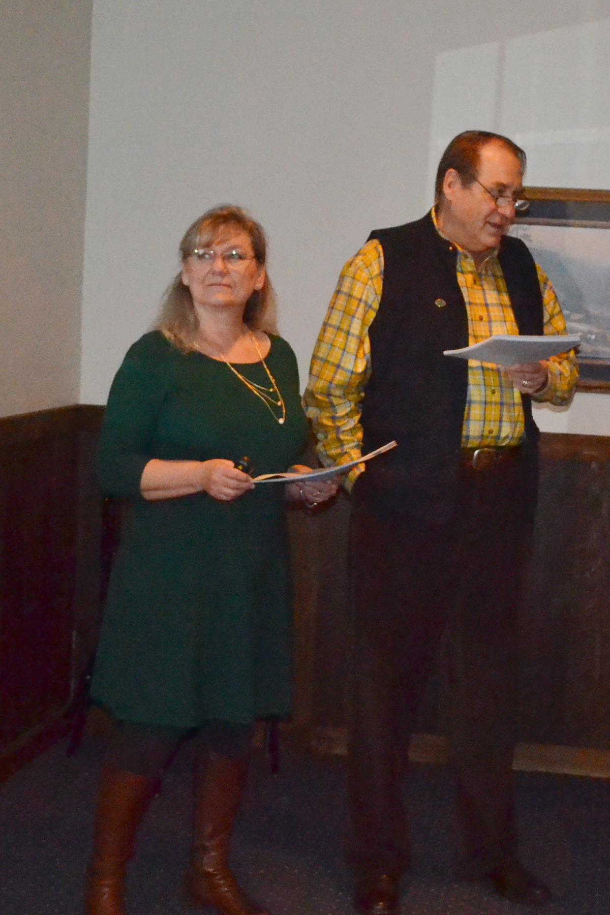 Suzzanne Kelley and Tom Isern shared tales of their travels at the annual meeting of the Ellendale Area Arts Council in January. Below is the Alfons Mucha painting of Saints Cyril and Methodius in the St. John Nepomucene Catholic Church in Pisek, N.D. Photo by Ken Schmierer