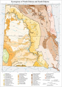 Ecoregions of North and South Dakota. Learn more at http://www.epa.gov/wed/pages/ecoregions/ndsd_eco.htm#Ecoregions denote