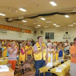 The 50th anniversary celebration of the Willow Lake Lions Club on Aug. 20 started with the Pledge of Allegiance. Photo by Kristin Brekke Vandersnick