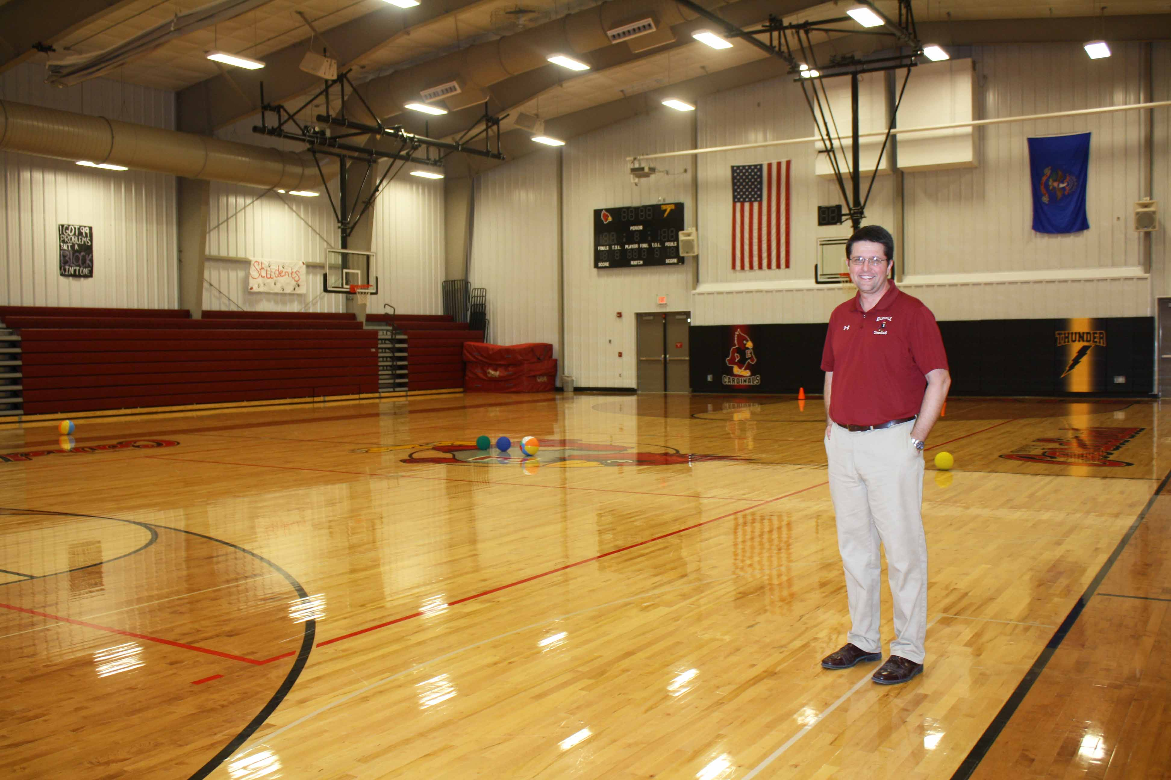 Ellendale Public Schools Superintendent Jeff Fastnacht stands in the gym, which was constructed alongside a complete elementary school remodel in 2012. The high school was built in 1997, and a new track was built last year.