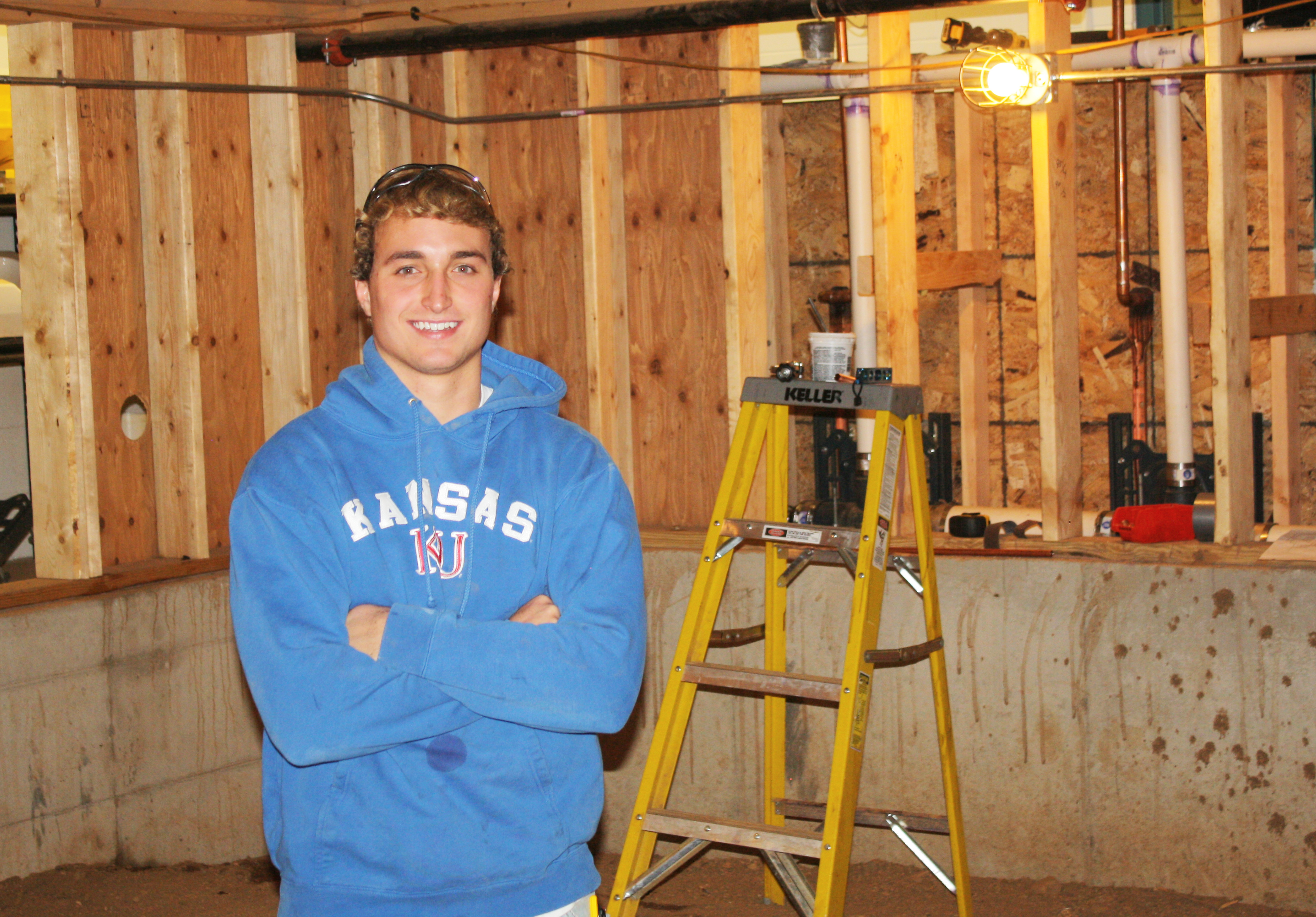 Andrew King, a 2015 Arlington High School graduate, is learning to be a plumber, a trade he hopes to put to use in his hometown.  Photo by Wendy Royston