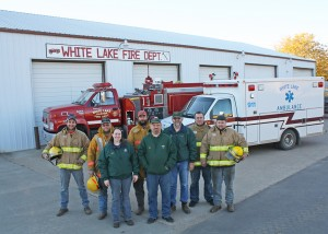 Pictured are local emergency responders (left to right) Left to right: Scott Moeller, John Falk, Dixie Falk, Jason Moeller, Doering, Dale Steffen, Tad McCord and Paul Assmas.