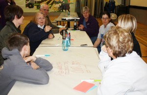 Alma Richard references a point made earlier by Darla Knox during the evening session of the Dakotafire Café in Doland. Photo by Wendy Royston