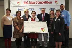 The winning marketing design entry was The Calving Book App. Pictured are Abby McQuillen, McQuillen Creative Group; Mary Schlechter, Faulkton High School; Jennifer Wegleitner, Presentation College; Ellen Schlechter, Faulkton High School; Dr. Bill Broucek, Northern State University; Kila LeGrand, Sanford Health; Kelly Weaver, BIG Idea committee; and Brady Carda, Sanford Health. Contributed photo