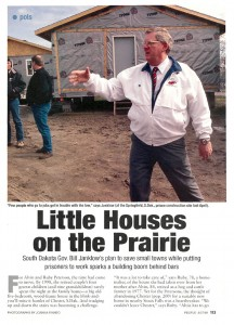 Former S.D. Gov. Bill Janklow's Governor's House program was featured in People magazine in 1999. The program provides job-skills training for inmates and low-cost homes for people in rural communities. Image from www.people.com