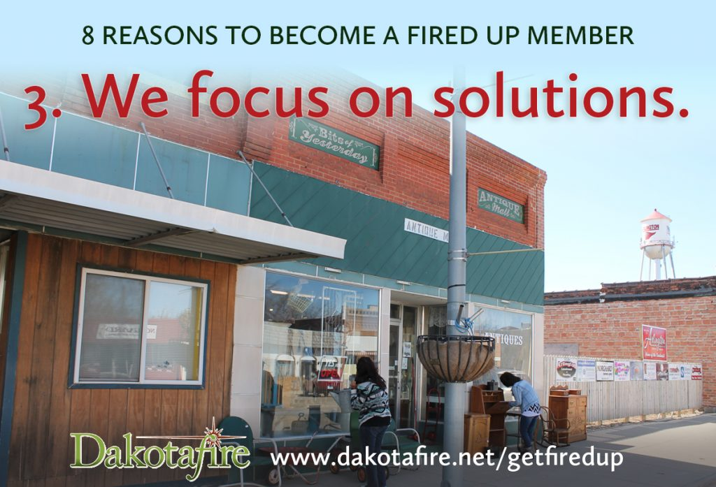 3 - We focus on solutions. We know there are things that the public needs to hear that aren't pleasant. But the story doesn't have to end there. In almost every instance where you find a problem, you'll also find someone working on a solution. Dakotafire searches for those pieces or beginnings of a solution and tells those stories, too—not to suggest that any one solution is the perfect answer, but to plant the seeds of possibility thinking much more broadly.