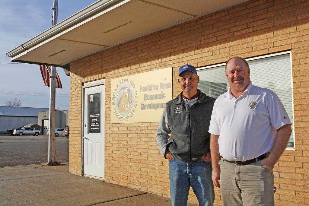 With a population of 737, Faulkton, S.D., is filled with opportunity and possibility, according to Faulkton Area Economic Development President Roger Deiter (left) and Executive Director Trevor Cramer. Photo by Wendy Royston