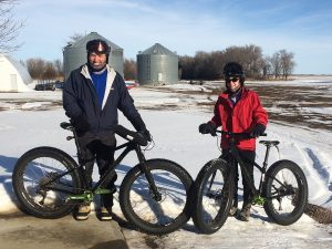 John and Marci O'Connell of Letcher, S.D., don't let winter weather put a freeze on their favorite pastime. With a variety of bikes and other weather-appropriate gear, the couple continues to ride long distances, even in heavy snow. Courtesy photo