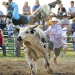 Duffy Ducheaux, of Avon, S.D., goes into low orbit during the July 2 Bull-A-Rama at Wild West Days in Faulkton, S.D.