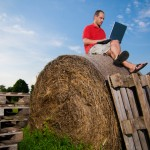 Working on a bale. Istockphoto/Mac99