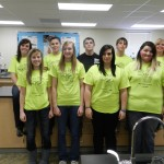 The LaMoure Green Team is, from left, back row, Madison Bierman, Chantel Johnson, Caleb Dorich, Damien Bentz and Mercedes Bierman, and front row, Jade Wagner, Kennedy Witt, Autumn Mills and Misty Childers. Photo by LaMoure Chronicle