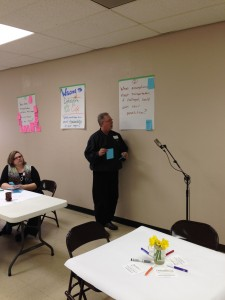 Scott Amundson presents his group's ideas at the Dakotafire Cafe event in Britton on March 28. Photo by Joe Bartmann