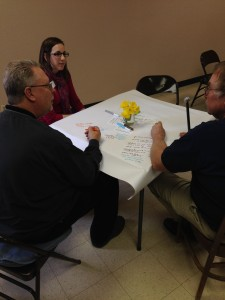 Discussion at the Dakotafire Cafe event in Britton, S.D., March 28. Pictured are Melissa Fose, Scott Amundson and Mike McCurry. Photo by Joe Bartmann