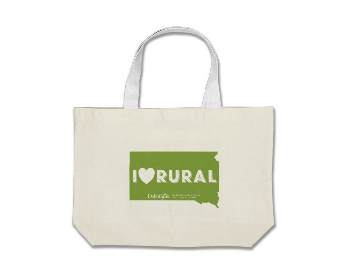 """I (heart) rural"" SD tote bag"